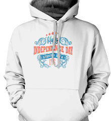 Happy Independence Day. Fourth of July. 1776. Gildan Heavyweight Pullover Fleece Sweatshirt.