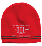 True Born Son of Liberty. Original Rebel Alliance. Hat. Sport-Tek Colorblock Beanie. (Embroidered)