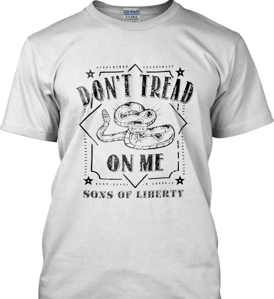 Don't Tread on Me. Snake. Sons of Liberty. Black Print. Gildan Ultra Cotton T-Shirt.-4
