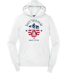 Don't Tread on Me. Snake on Shield. Red, White and Blue. Women's: Sport-Tek Ladies Pullover Hooded Sweatshirt.