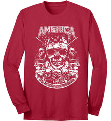 America. 2nd Amendment Patriots. White Print. Port & Co. Long Sleeve Shirt. Made in the USA..