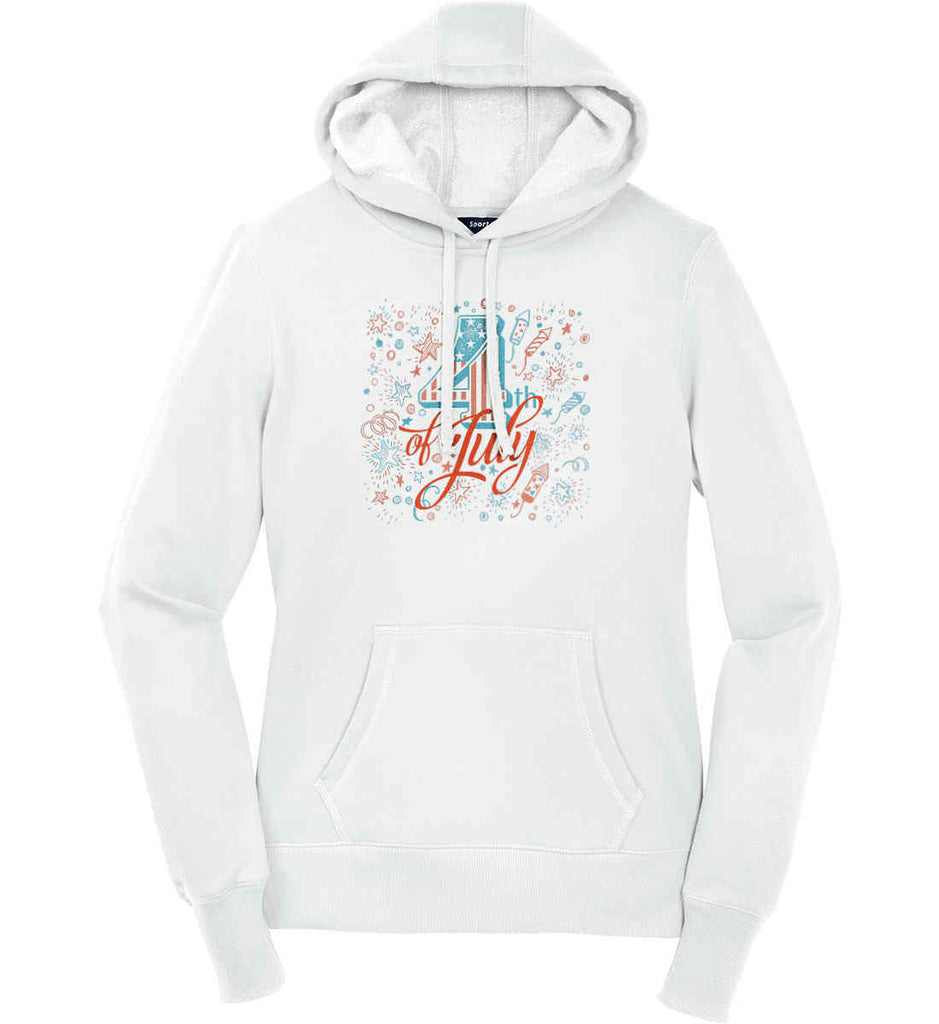 4th of July. Stars and Rockets. Women's: Sport-Tek Ladies Pullover Hooded Sweatshirt.-2