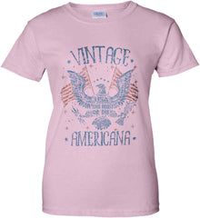 Vintage Americana Faded Grunge Women's: Gildan Ladies' 100% Cotton T-Shirt.