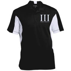 Three Percent Symbol with Text. White. Sport-Tek Men's Colorblock Performance Polo. (Embroidered)