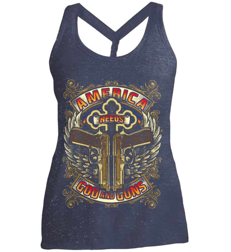 America Needs God and Guns. Women's: District Made Ladies Cosmic Twist Back Tank.-2