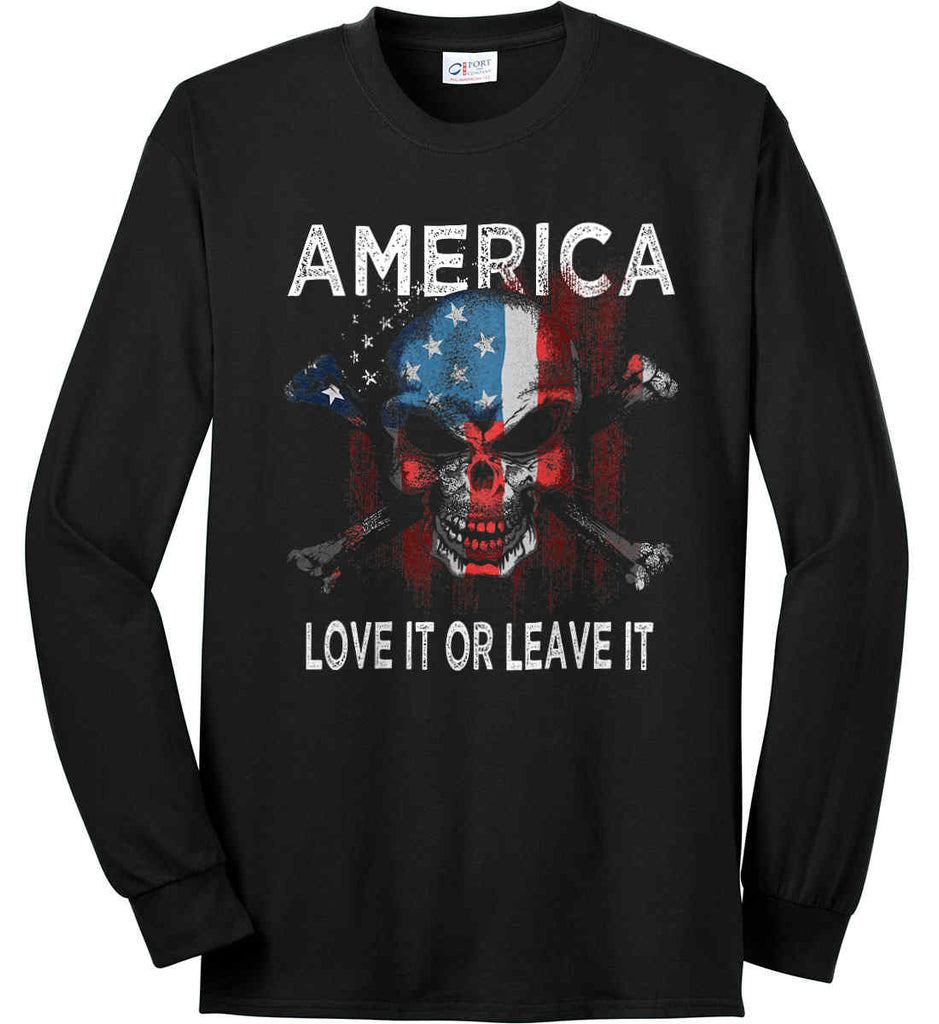 America. Love It or Leave It. Port & Co. Long Sleeve Shirt. Made in the USA..-1