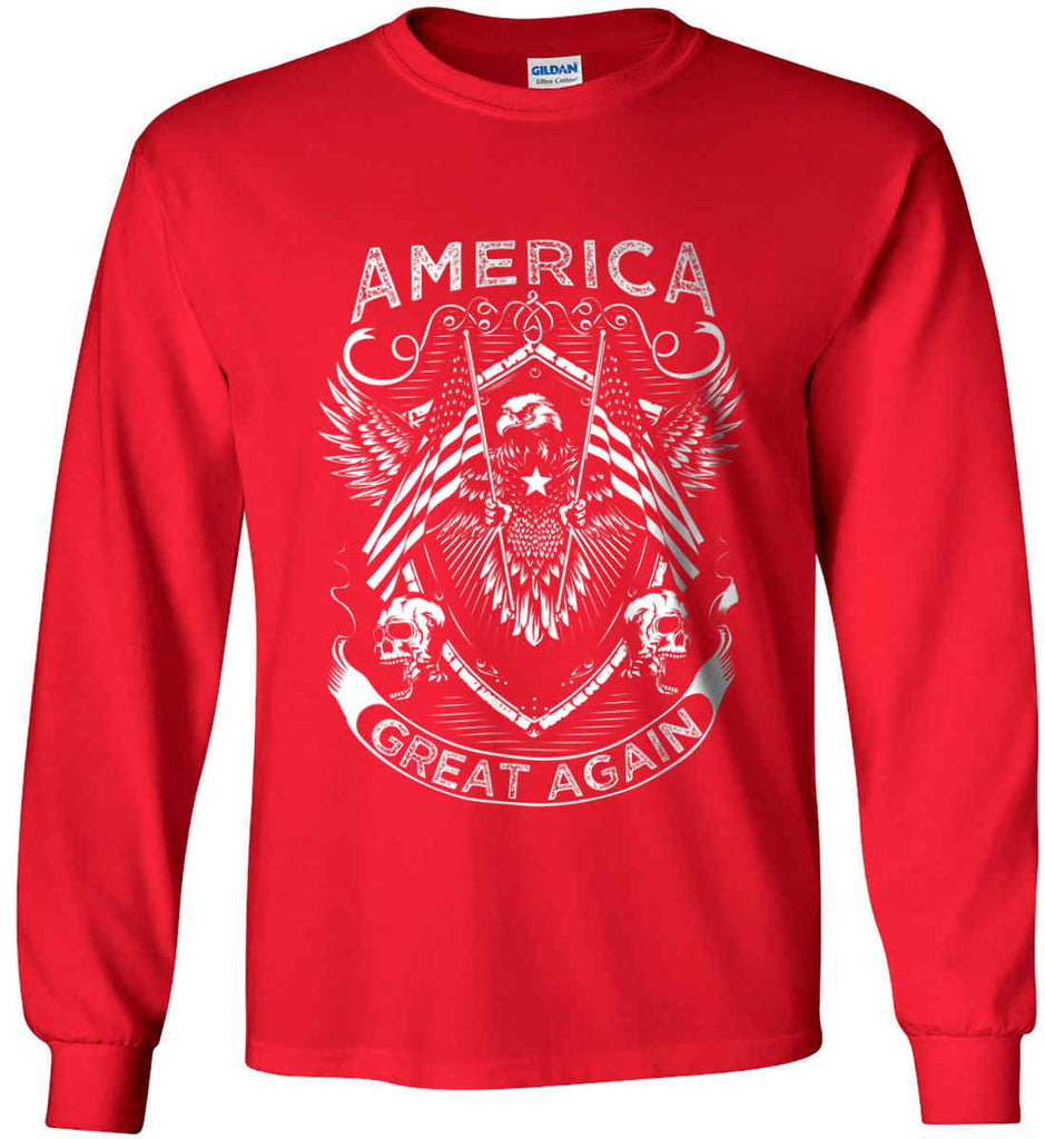 ed7311f7d24edc America. Great Again. White Print. Gildan Ultra Cotton Long Sleeve Shirt.