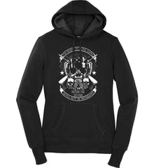 The Right to Bear Arms. Shall Not Be Infringed. Since 1791. White Print. Women's: Sport-Tek Ladies Pullover Hooded Sweatshirt.