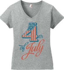 4th of July. Faded Grunge. Women's: Anvil Ladies' V-Neck T-Shirt.