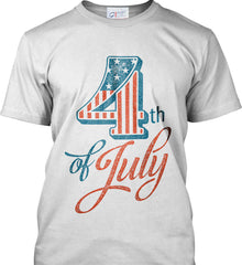4th of July. Faded Grunge. Port & Co. Made in the USA T-Shirt.
