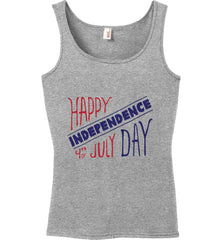 Happy Independence Day. 4th of July. Women's: Anvil Ladies' 100% Ringspun Cotton Tank Top.