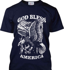God Bless America. Eagle on Flag. White Print. Port & Co. Made in the USA T-Shirt.