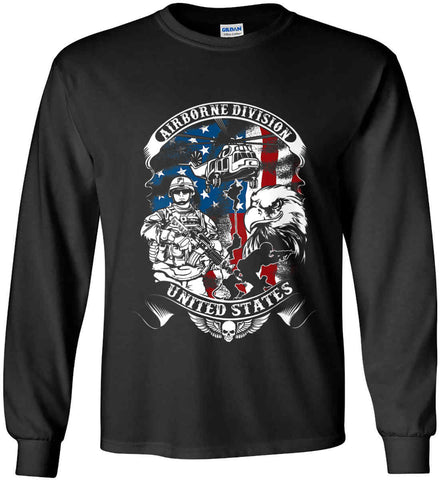 Airborne Division. United States. Gildan Ultra Cotton Long Sleeve Shirt.