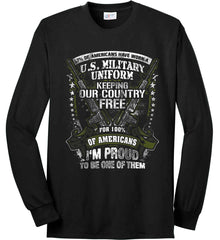 7% of Americans Have Worn a Military Uniform. I am proud to be one of them. Port & Co. Long Sleeve Shirt. Made in the USA..