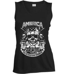 America. 2nd Amendment Patriots. White Print. Women's: Sport-Tek Ladies' Sleeveless Moisture Absorbing V-Neck.