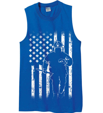 Firefighter American Flag. White Print. Gildan Men's Ultra Cotton Sleeveless T-Shirt.