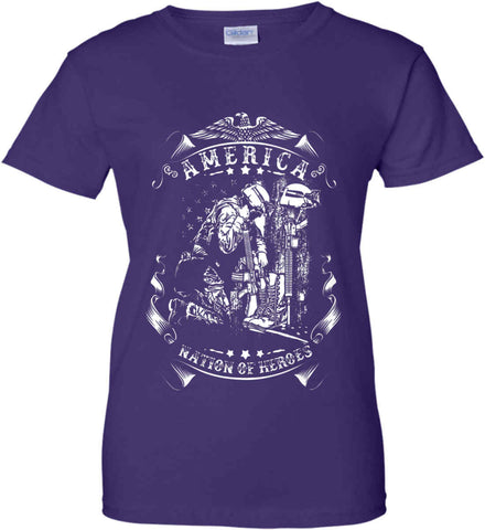 America A Nation of Heroes. Kneeling Soldier. White Print. Women's: Gildan Ladies' 100% Cotton T-Shirt.