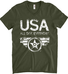 USA All Day Everyday. White Print. Anvil Men's Printed V-Neck T-Shirt.