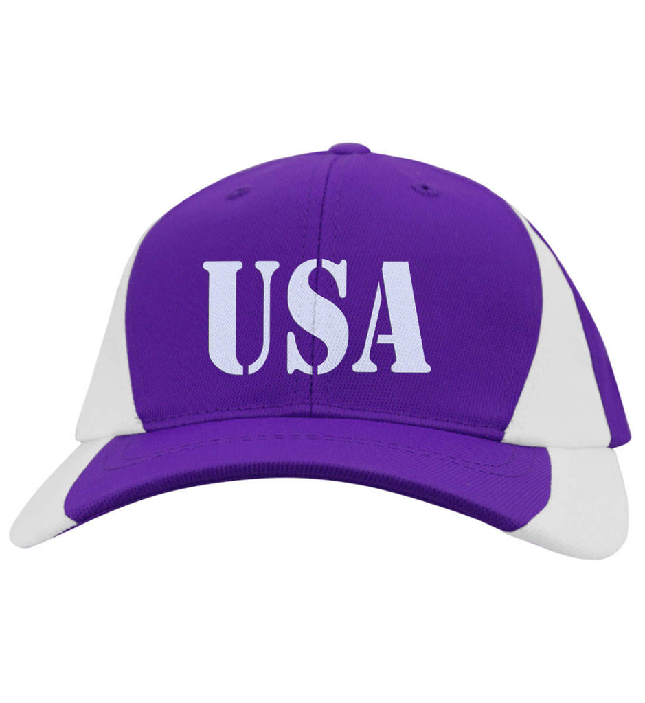 USA Patriot Hat Sport-Tek Mid-Profile Colorblock Cap. (Embroidered)-5