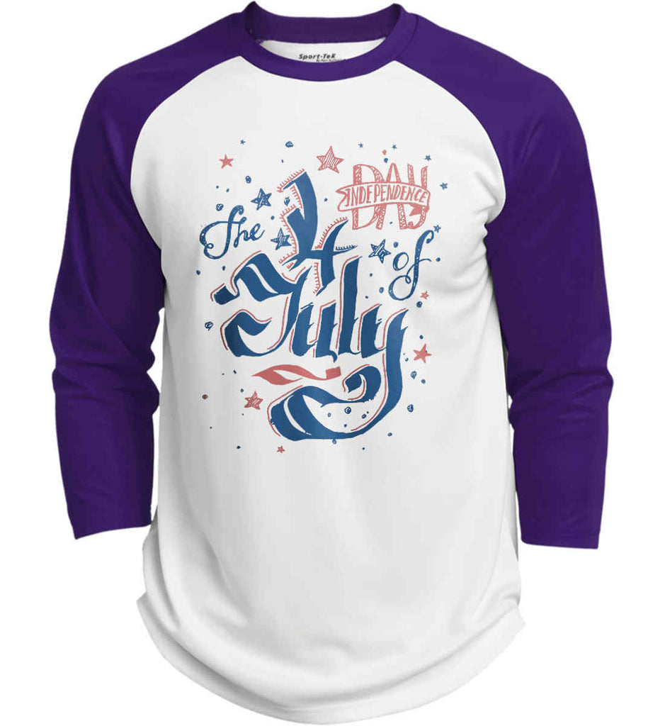 The 4th of July. Ribbon Script. Sport-Tek Polyester Game Baseball Jersey.-4