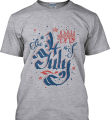 The 4th of July. Ribbon Script. Gildan Tall Ultra Cotton T-Shirt.