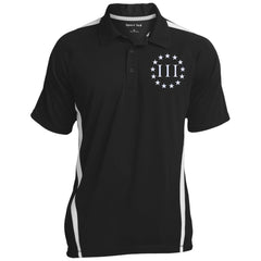Three Percent III. Surrounded by Stars. Sport-Tek Men's Colorblock 3-Button Polo. (Embroidered)
