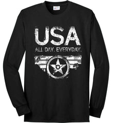USA All Day Everyday. White Print. Port & Co. Long Sleeve Shirt. Made in the USA..