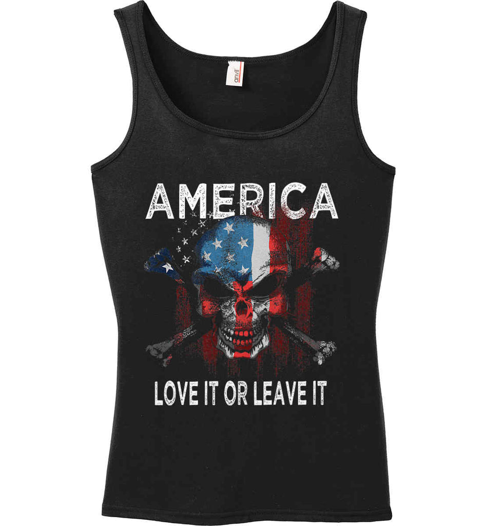 America. Love It or Leave It. Women's: Anvil Ladies' 100% Ringspun Cotton Tank Top.-1
