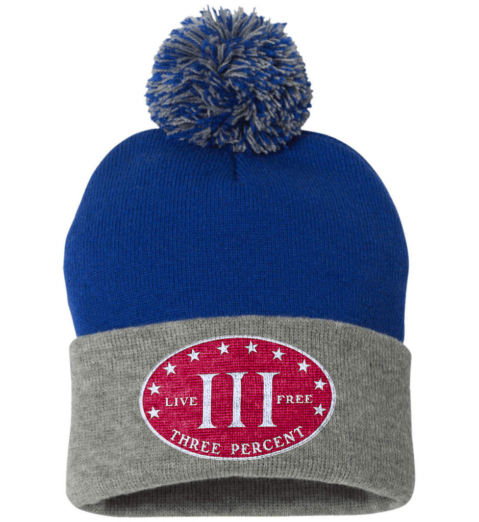Three Percenter. Live Free. Hat. Sportsman Pom Pom Knit Cap. (Embroidered)-15