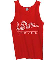 Join or Die. White Print. Gildan 100% Cotton Tank Top.