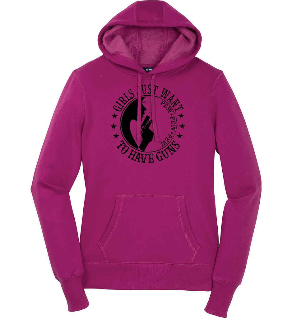 Girls Just Want to Have Guns. Pew Pew Pew. Women's: Sport-Tek Ladies Pullover Hooded Sweatshirt.-2