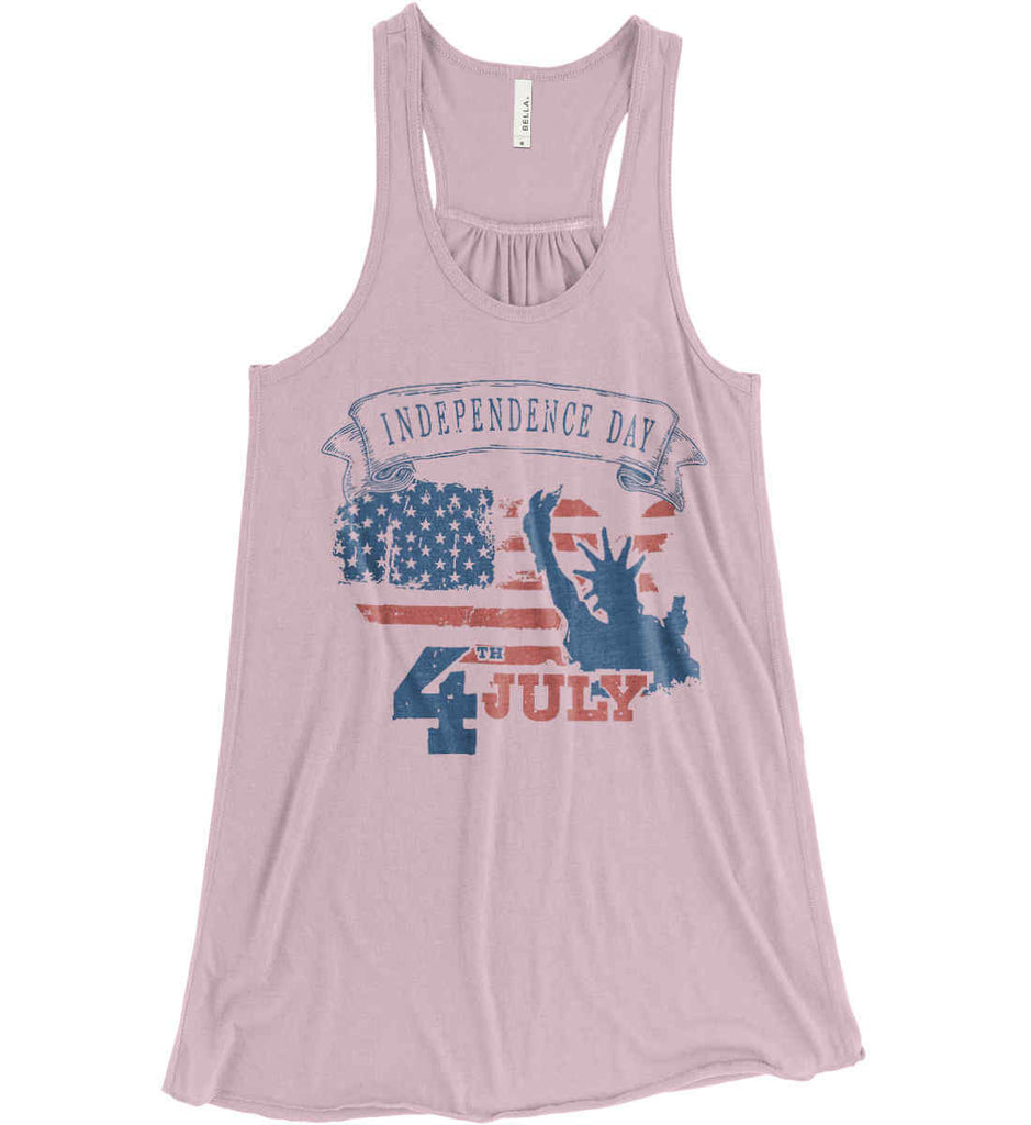 4th of July. Faded Grunge. Statue of Liberty. Women's: Bella + Canvas Flowy Racerback Tank.-2