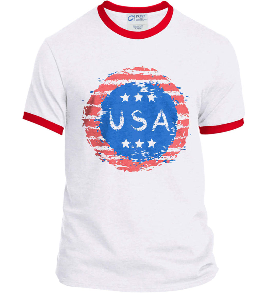 Grungy USA. Port and Company Ringer Tee.-4