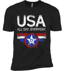 USA All Day Everyday. Next Level Premium Short Sleeve T-Shirt.