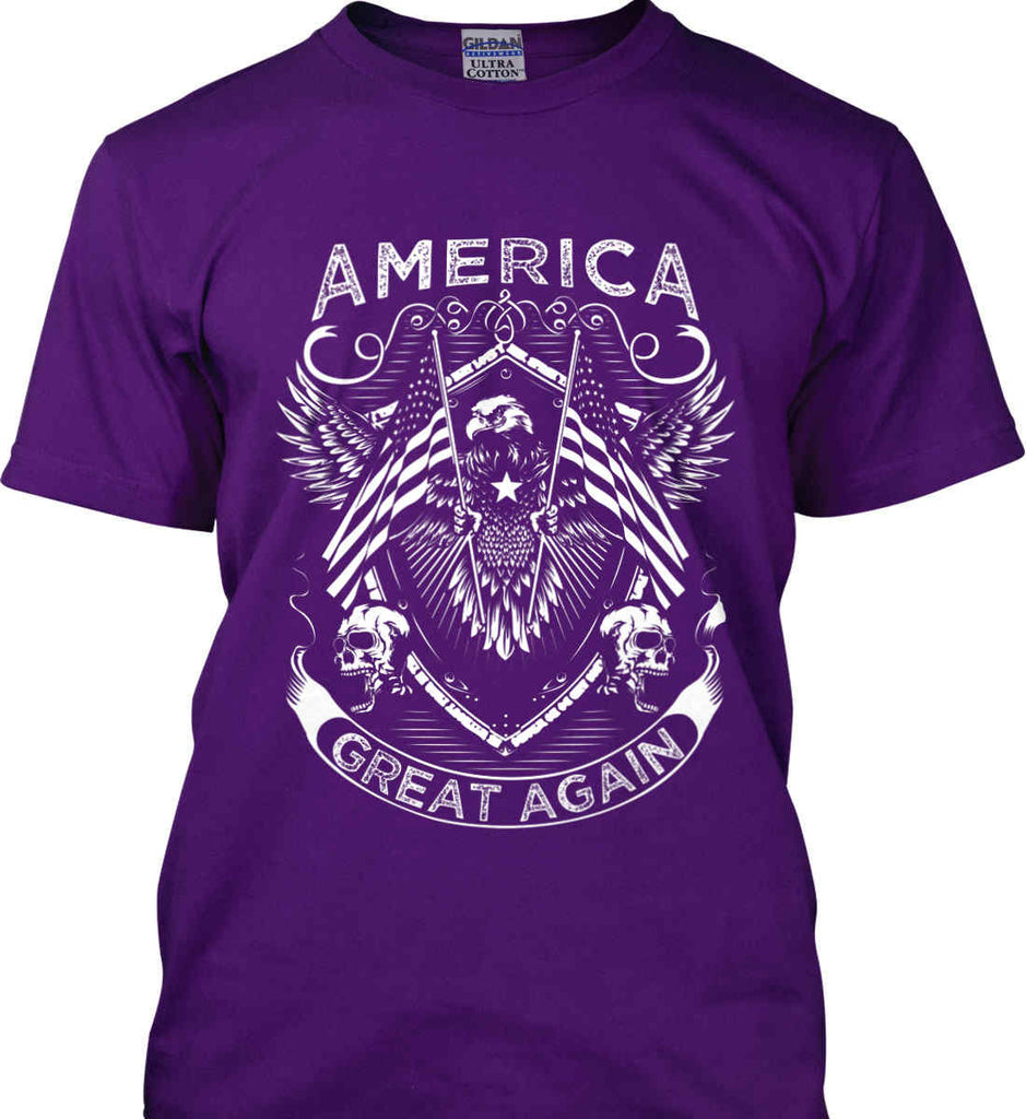 America. Great Again. White Print. Gildan Ultra Cotton T-Shirt.-3
