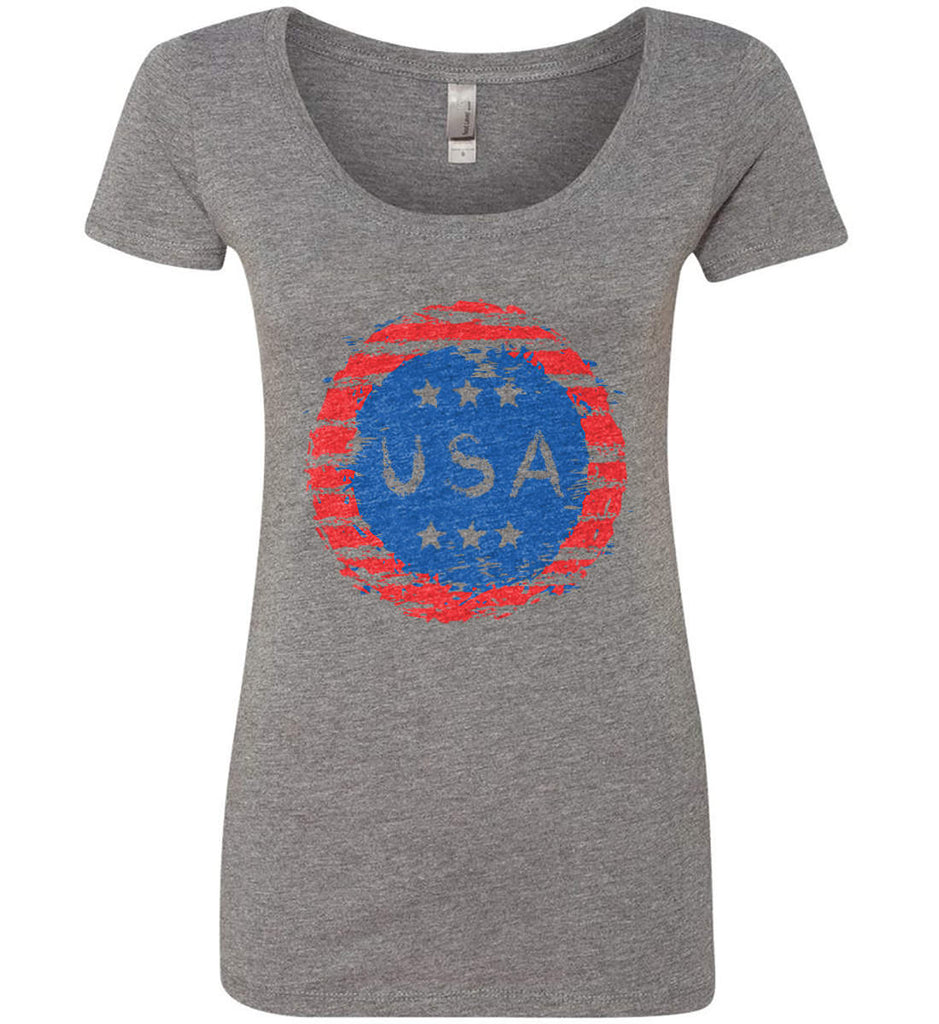 Grungy USA. Women's: Next Level Ladies' Triblend Scoop.-2