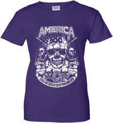 America. 2nd Amendment Patriots. White Print. Women's: Gildan Ladies' 100% Cotton T-Shirt.