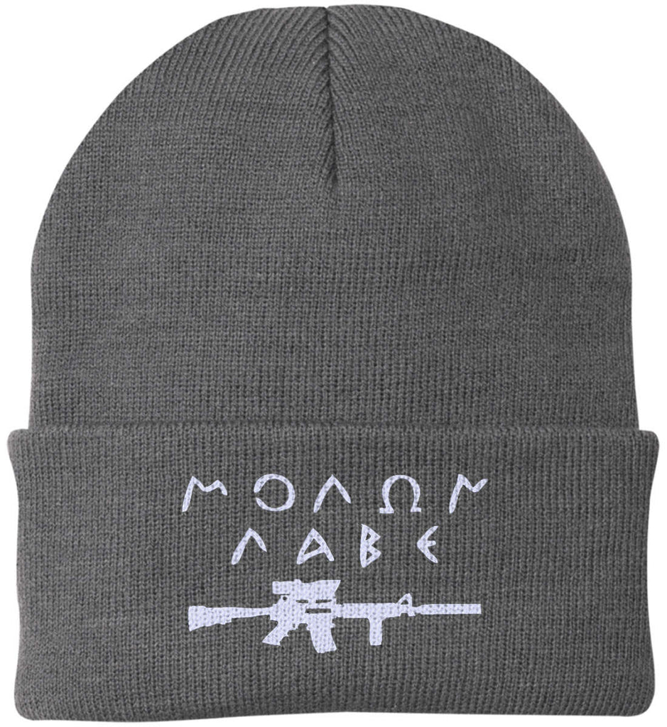 Molon Labe Rifle Hat. Port Authority Knit Cap. (Embroidered)-1