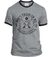 Don't Tread on Me: The Second Amendment: An American Tradition. Black Print. Port and Company Ringer Tee.