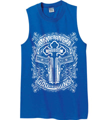 America Needs God and Guns. White Print. Gildan Men's Ultra Cotton Sleeveless T-Shirt.