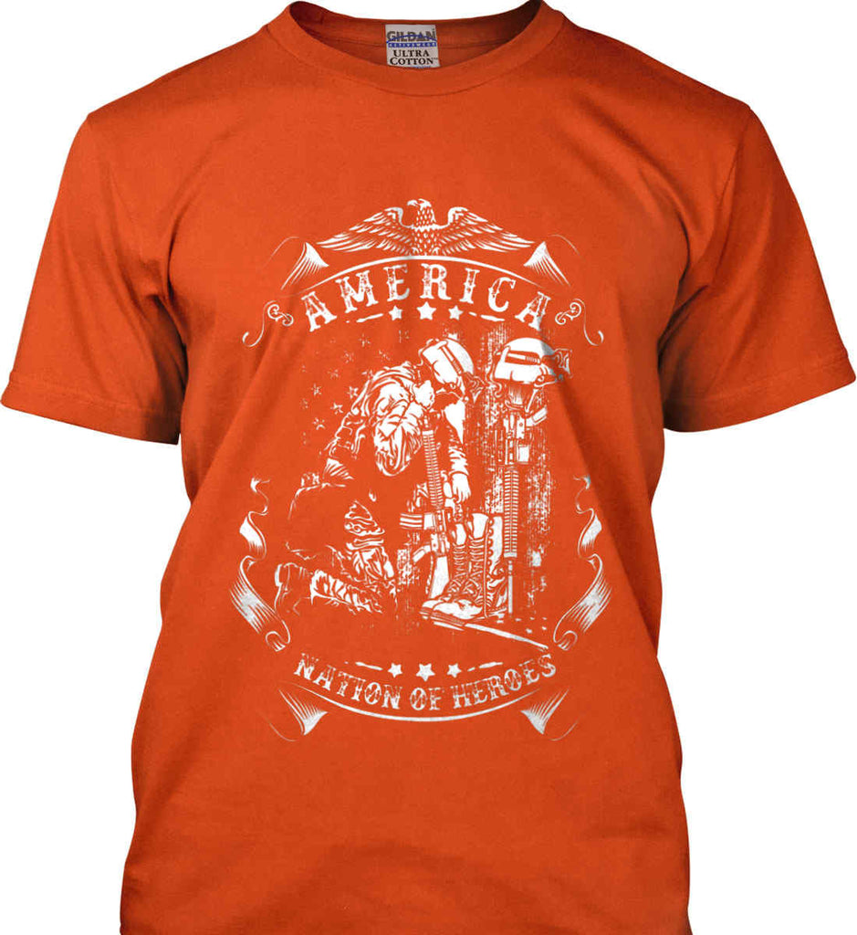 America A Nation of Heroes. Kneeling Soldier. White Print. Gildan Ultra Cotton T-Shirt.-9