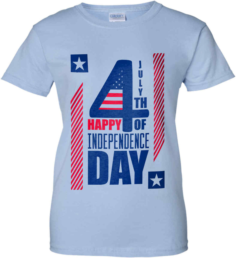 4th of July with Stars and Stripes. Women's: Gildan Ladies' 100% Cotton T-Shirt.-3