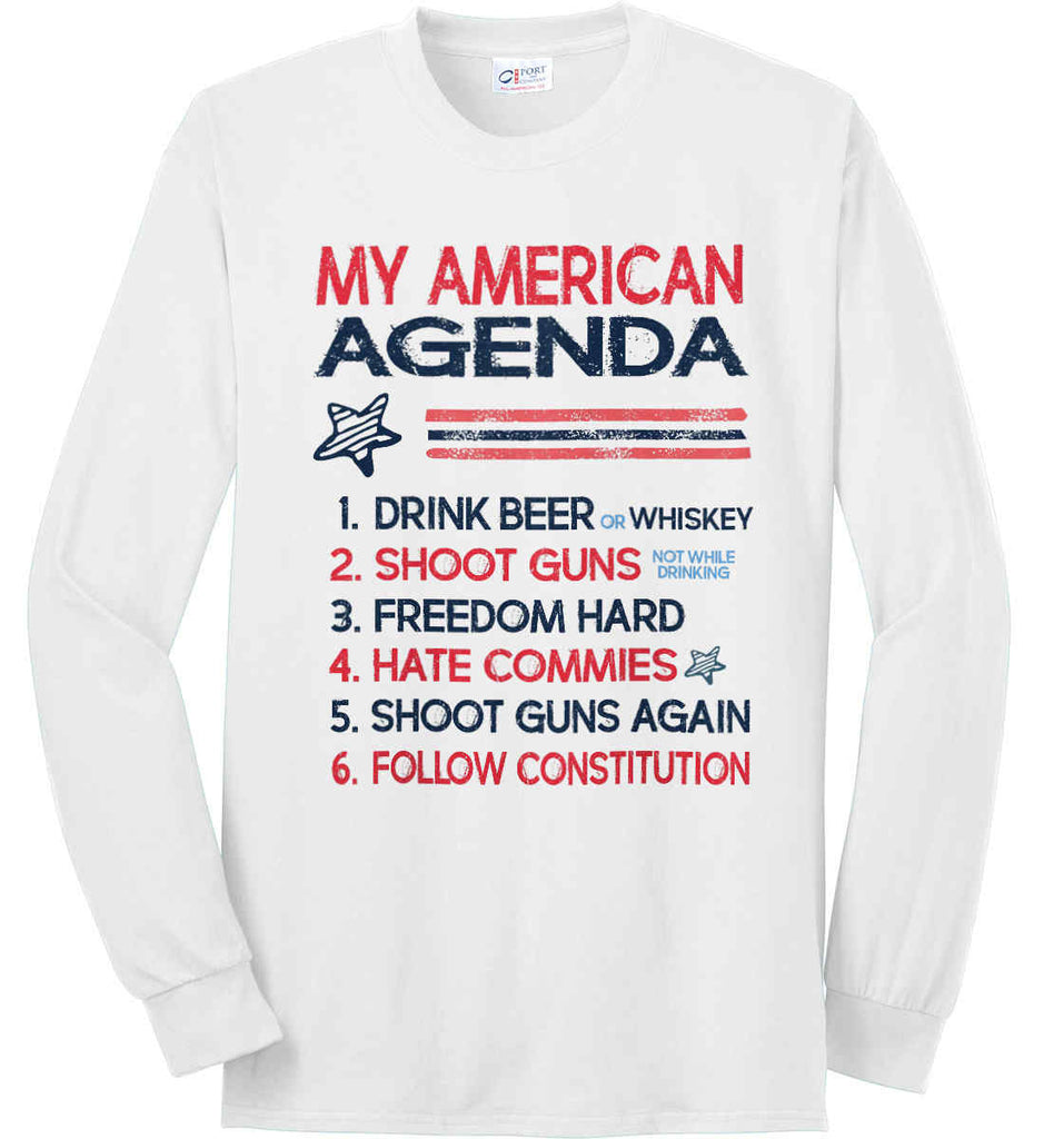 My American Agenda. Port & Co. Long Sleeve Shirt. Made in the USA..-1