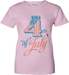 4th of July. Faded Grunge. Women's: Gildan Ladies' 100% Cotton T-Shirt.