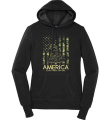 America. Live Free or Die. Don't Tread on Me. Camo. Women's: Sport-Tek Ladies Pullover Hooded Sweatshirt.