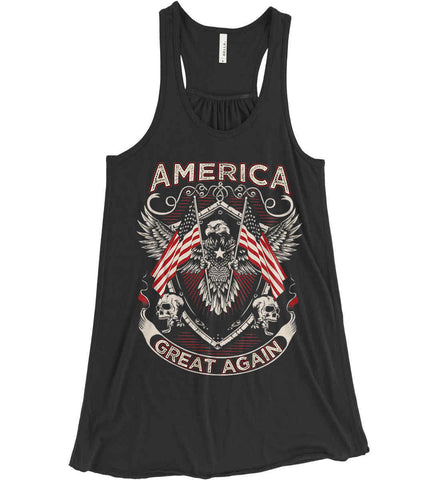 America. Great Again. Women's: Bella + Canvas Flowy Racerback Tank.