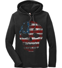 American Skull. Red, White and Blue. Anvil Long Sleeve T-Shirt Hoodie.