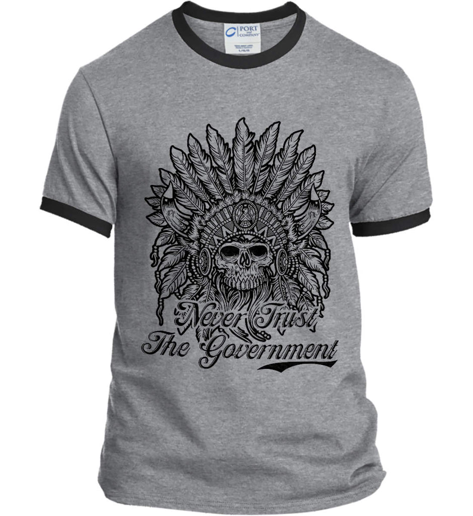 Skeleton Indian. Never Trust the Government. Port and Company Ringer Tee.-3
