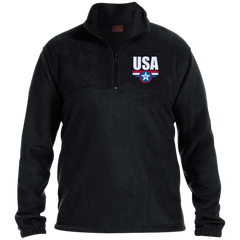USA. Star-Shield. Red, White, Blue. Harriton 1/4 Zip Fleece Pullover. (Embroidered)