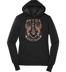 America. Great Again. Women's: Sport-Tek Ladies Pullover Hooded Sweatshirt.